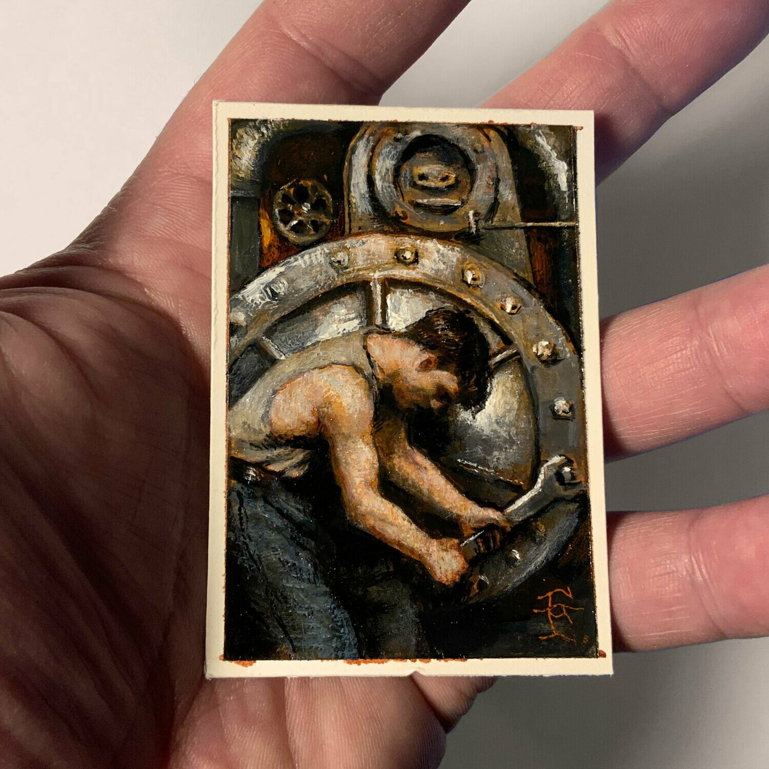 "Miniature Painting ""The Wheel"" 2-15/16"" X 2"""