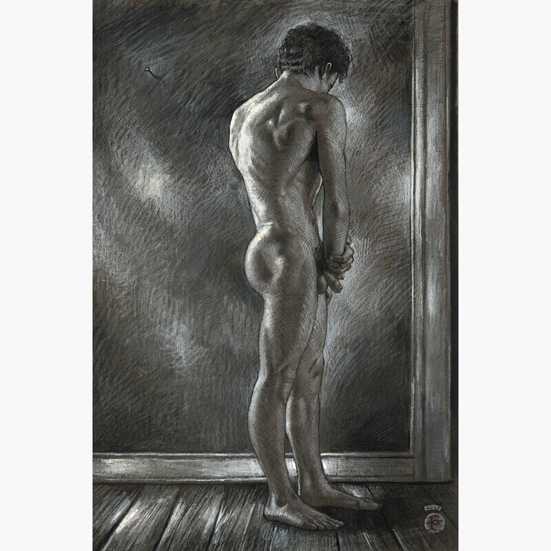 """""""Patience"""" Original Grisaille Drawing"""