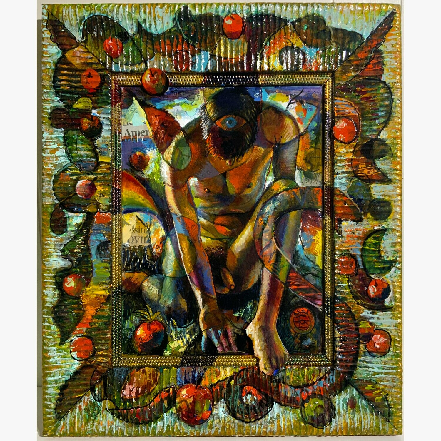 """""""The Orchard (An Apple a Day)"""" Original Painting on Frame with 3D Collage (*See pan video)"""