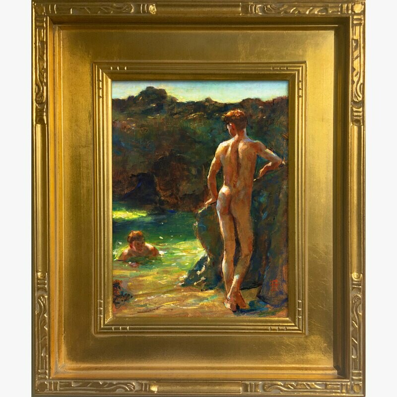 Untitled Study after William Scott Tuke, Original Framed Painting on Panel