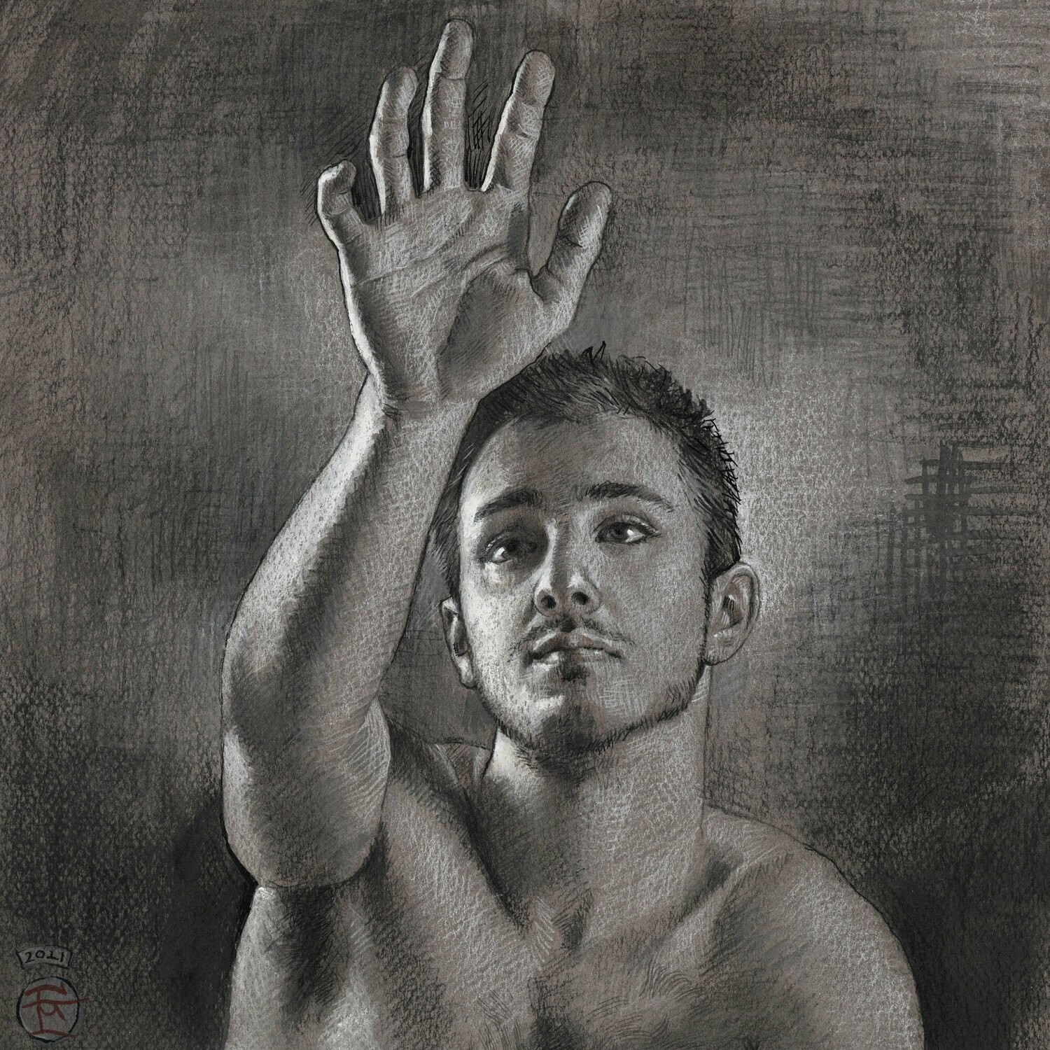 """Reach"" Original Mixed-Media Grisaille Drawing"