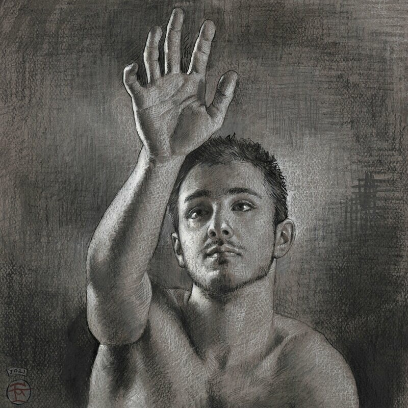"""""""Reach"""" Original Mixed-Media Grisaille Drawing"""