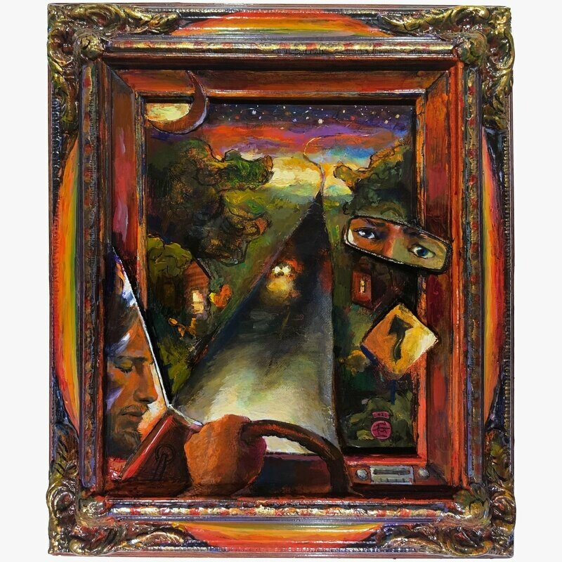 """""""Self-Portrait on the Road to Up"""" Original Painting on Frame with 3D Collage (*See pan video)"""