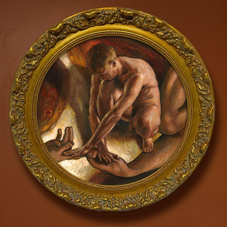 """""""Caress"""" Original Framed Tondo Painting"""