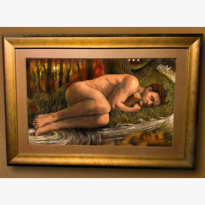 """Isolation"" 24.5"" X 35.5"" Framed Mixed-Media Painting"