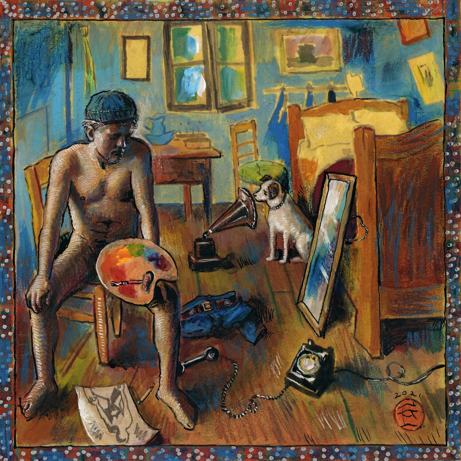 """""""The Blue Artist, House-Sitting for Vincent, Models for Himself While Waiting for a Call (Self-Portrait)"""" Original Mixed-Media Painting on Paper"""