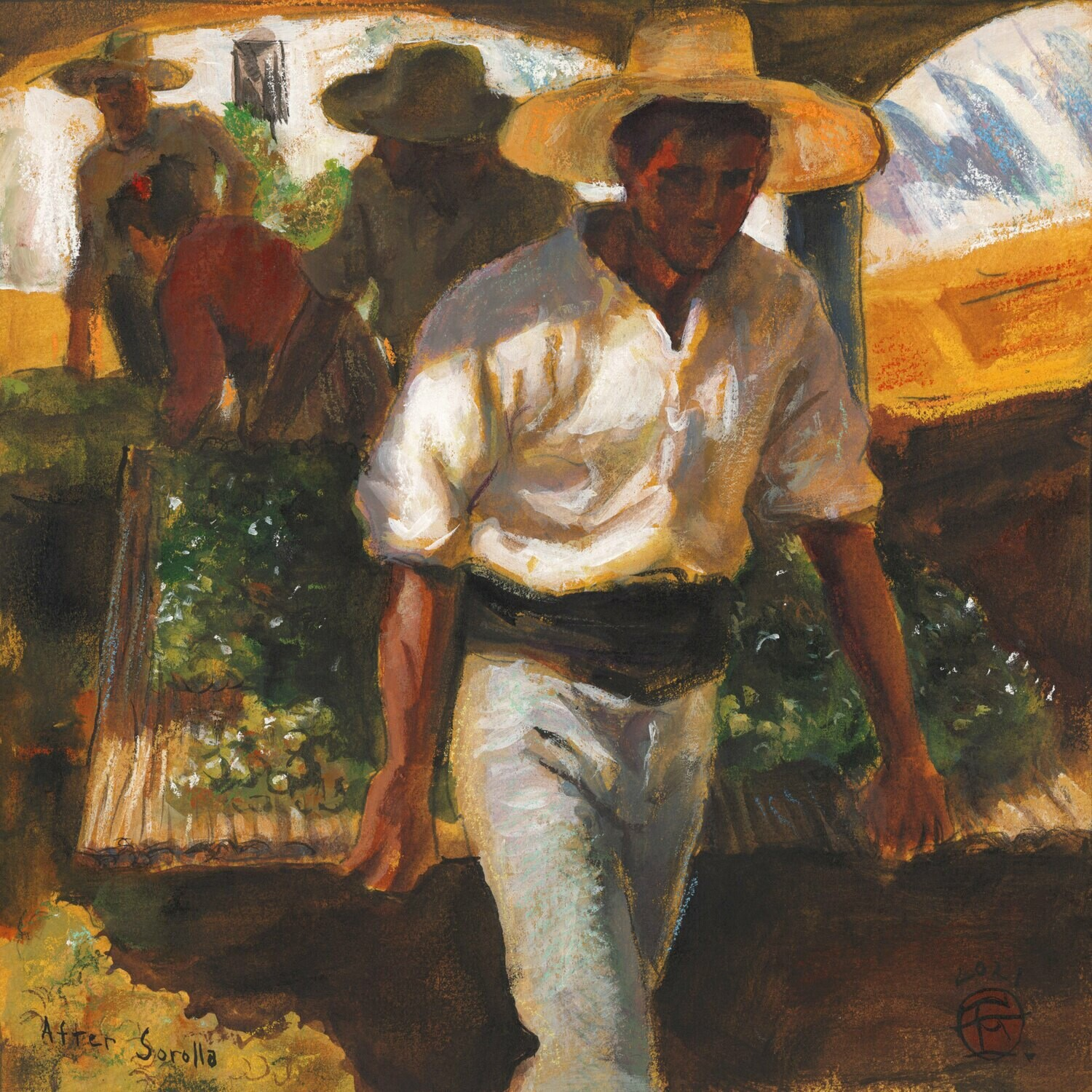 """Preparing Raisins"" (After Sorolla) Original Mixed-Media Painting on Paper"