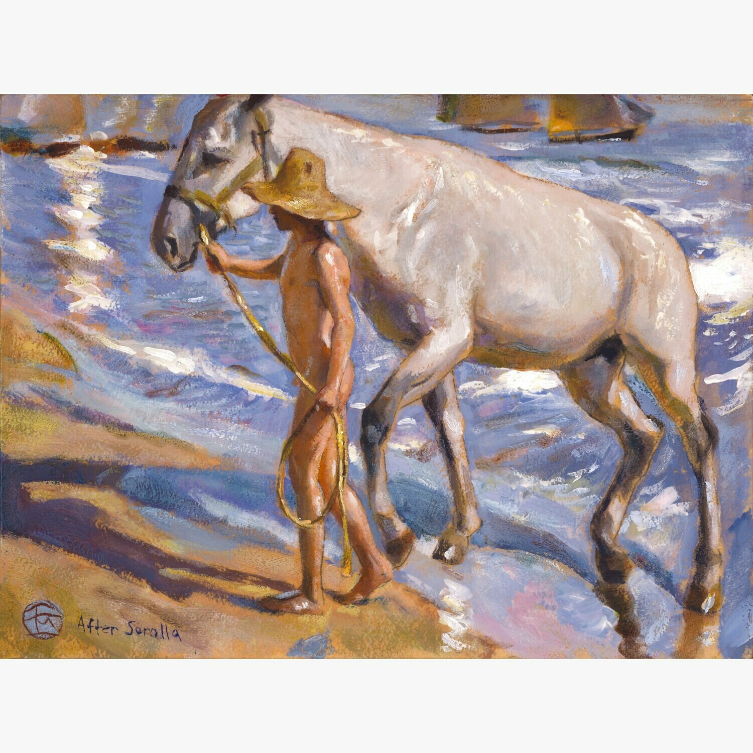 """Horse's Bath"" (Study after Joaquín Sorolla) Original Painting on Panel, Available Framed or Unframed"