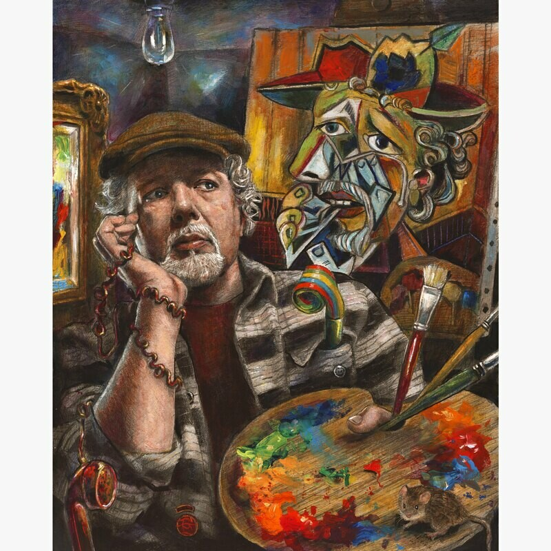 """The Idea (Self-Portrait)"" Original  Painting on Panel"
