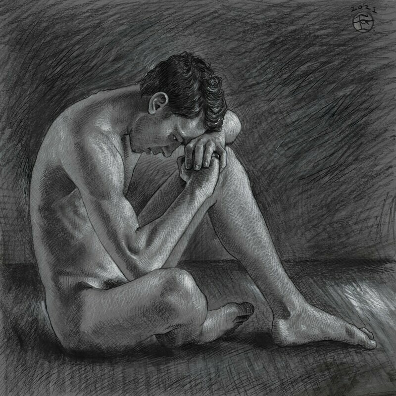 """""""The Thinker"""" Original Charcoal Drawing"""