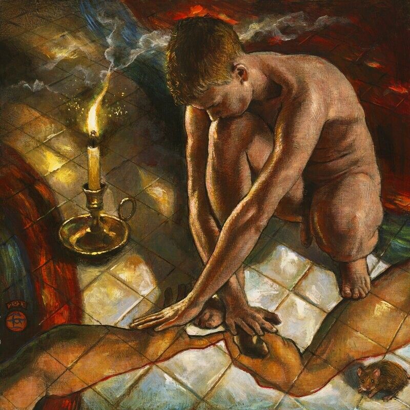 """""""Burning Hope (Out on the Tiles)"""" Original  Painting on Panel"""