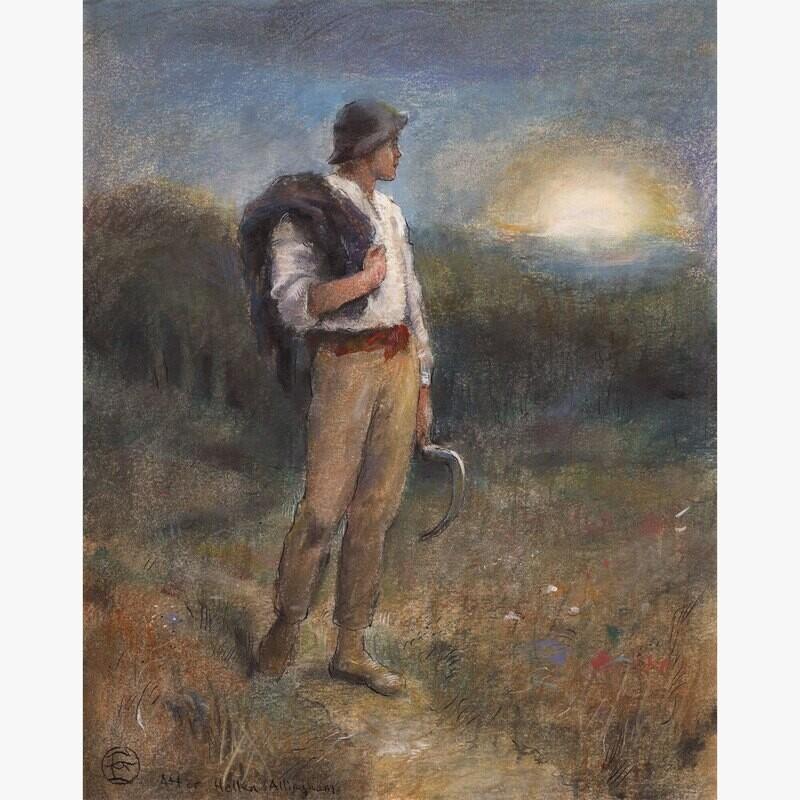 """""""Harvest Moon"""" (After Helen Allingham) Original Work on Paper"""