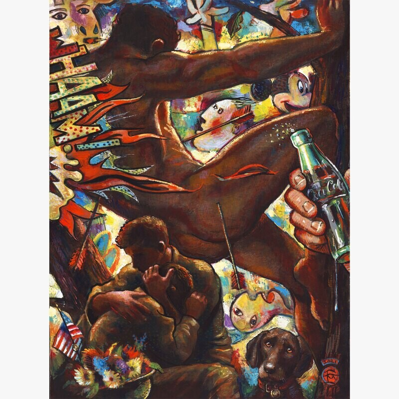 """American Hercules"" Original  Painting on Panel"