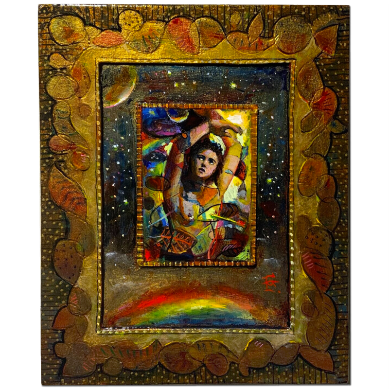 """Sebastian Ascendant"" Original Mixed-Media Painting on Panel"