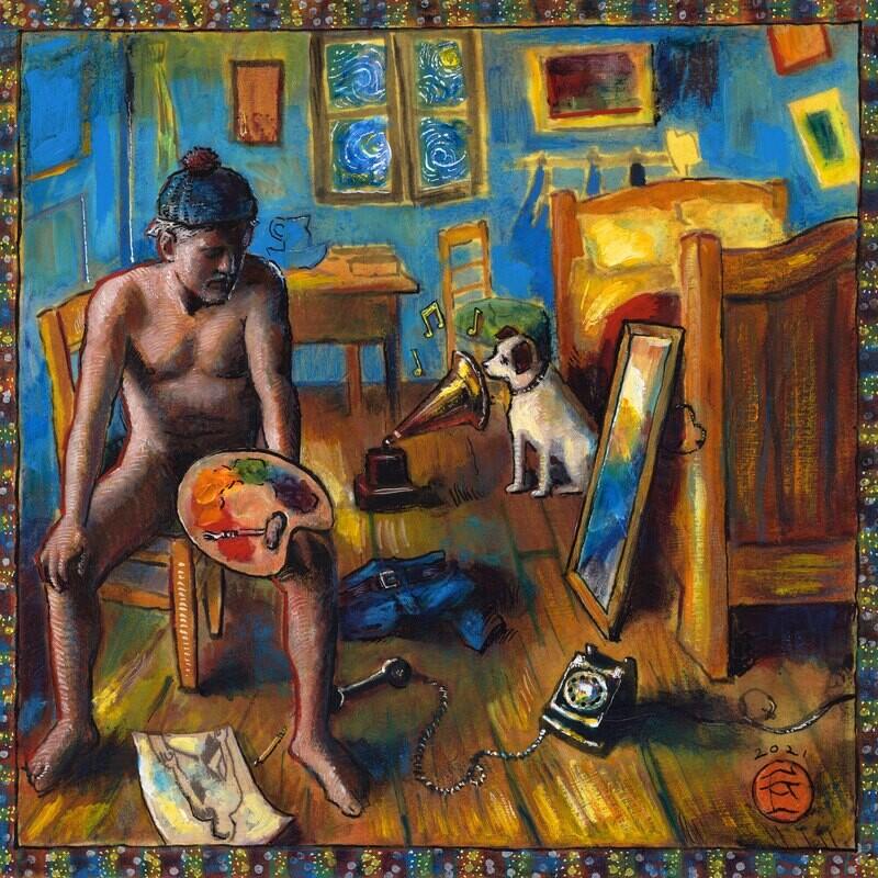"""Self-Portrait in Vincent van Gogh's Bedroom, One Starry Night"" Original Mixed-Media Painting on Paper"