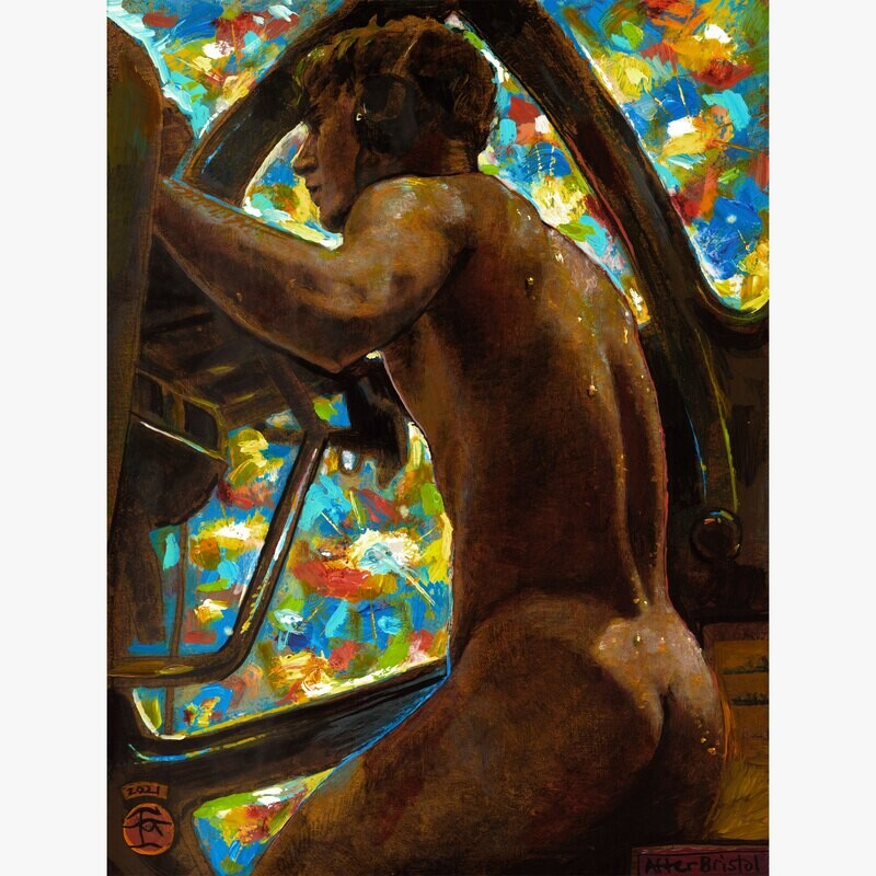 """""""The Golden Gunner (after Horace Bristol)"""" Original Painting with Iridescent Paints on Panel"""
