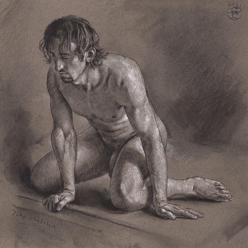 Kneeling Male Nude Original Drawing