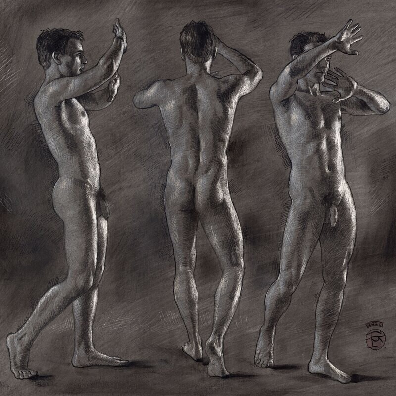 """""""The Grasping"""" Original Grisaille Work on Paper"""