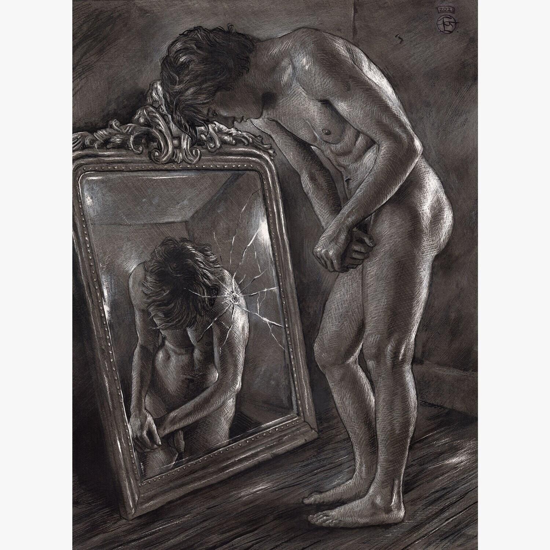 """The Mirror"" Original Work on Paper"