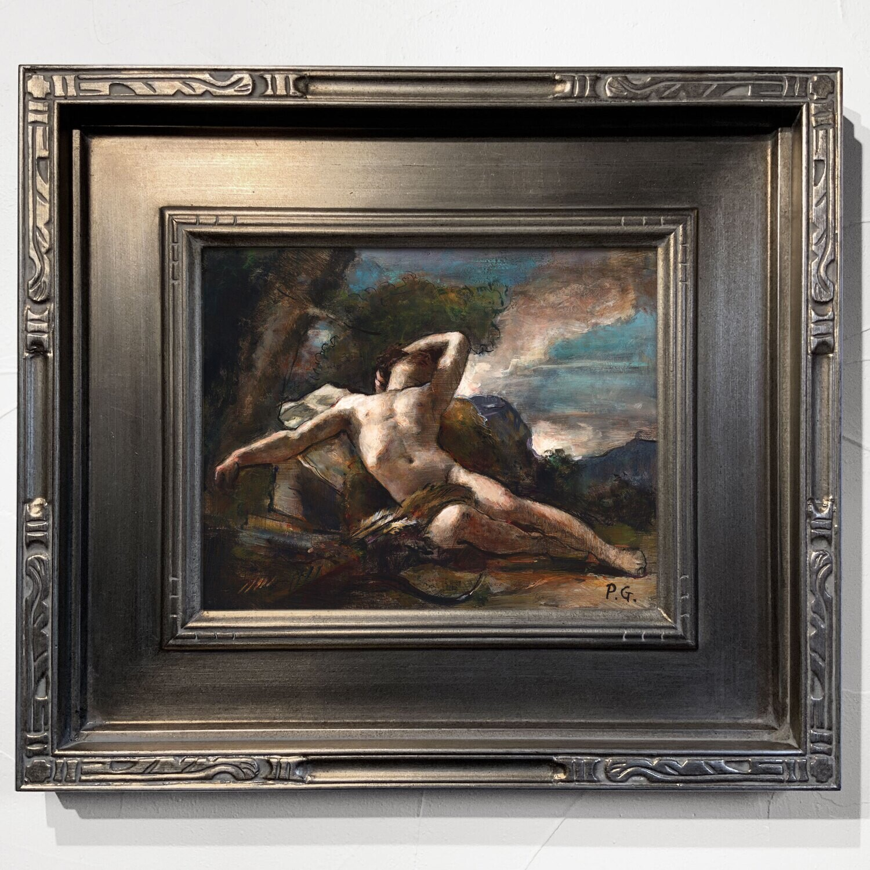"""Sleeping Endymion"" Original Framed Study after Nicolas-Guy Brenet"