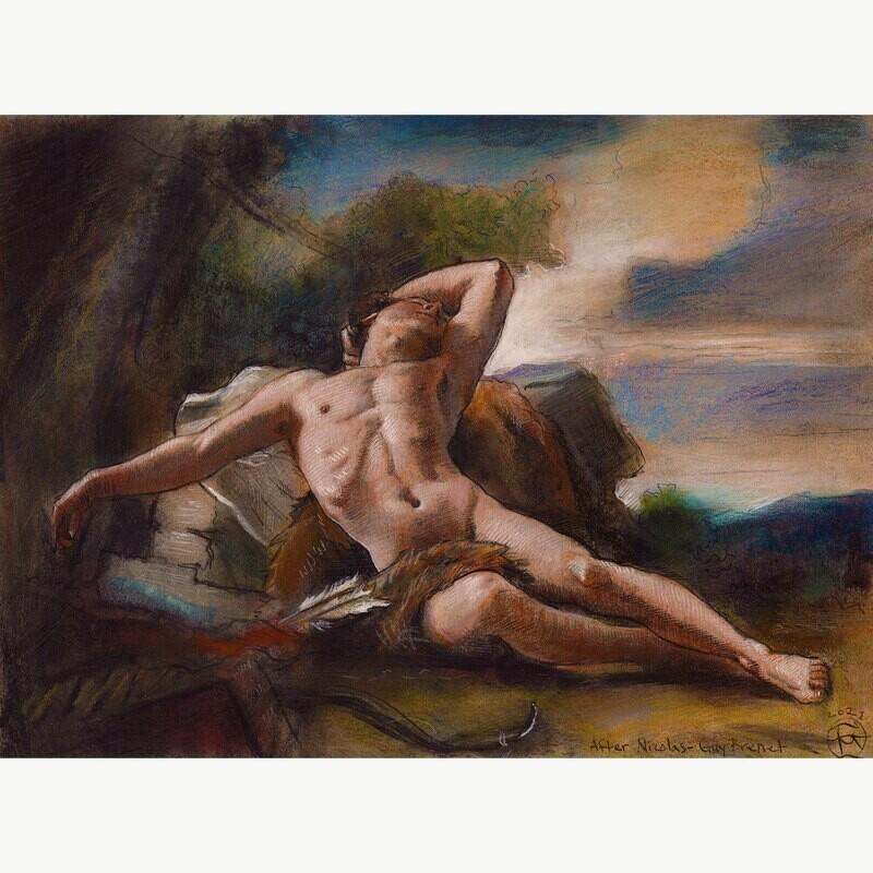 """""""Sleeping Endymion"""" (after Nicolas-Guy Brenet) Original Work on Paper"""