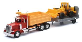 Peterbilt 379 Dump Truck with trailor and earth mover
