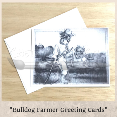 Bulldog Farmer Greeting Card 5 Pack