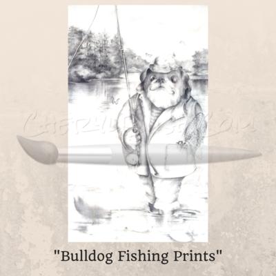 Bulldog Fishing Prints