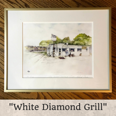 White Diamond Grill Framed 8 x 10