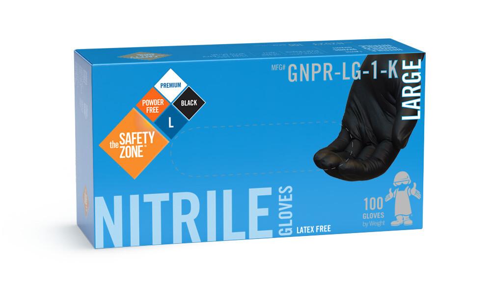 Gants noir nitrile médium N2432 boîte de 100 de The Safety Zone ®
