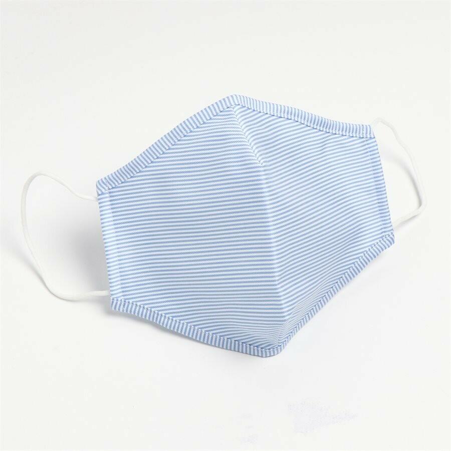 Masques lavables et réutilisables  en tissu non-médical traitement antibactérien (100% Coton) Ligné Bleu (Paquet de 5) de Hörst