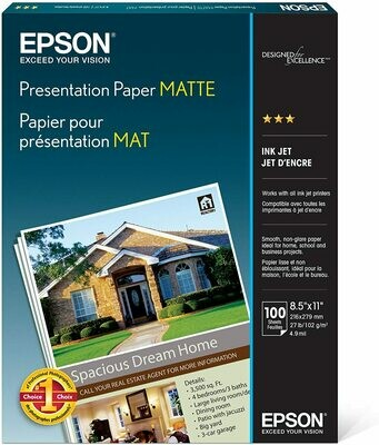 Papier de présentation 8.5x11 MAT pq de 100 de Epson