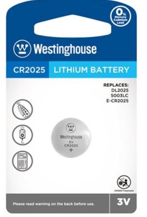 Piles bouton au lithium CR2025 3.0V de Westinghouse