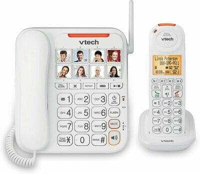 Téléphone fixe à 1 combiné Dect 6.0, sans-fil gros boutons SN5147 blanc de Vtech