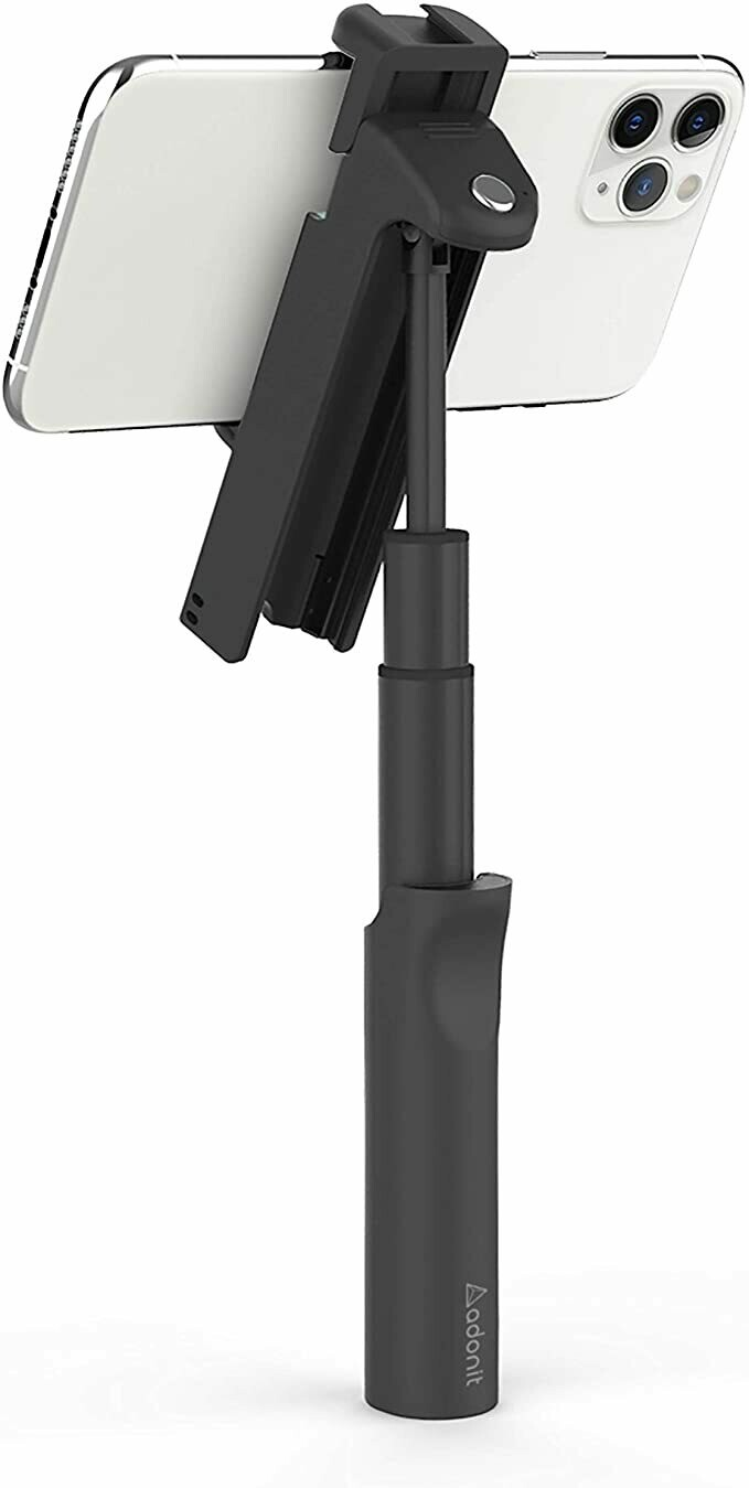 Poignée 7 en 1 avec support réglable multi-angles, perche à selfie, télécommande Bluetooth, support universel pour tél. intéligent - noir de Adonit