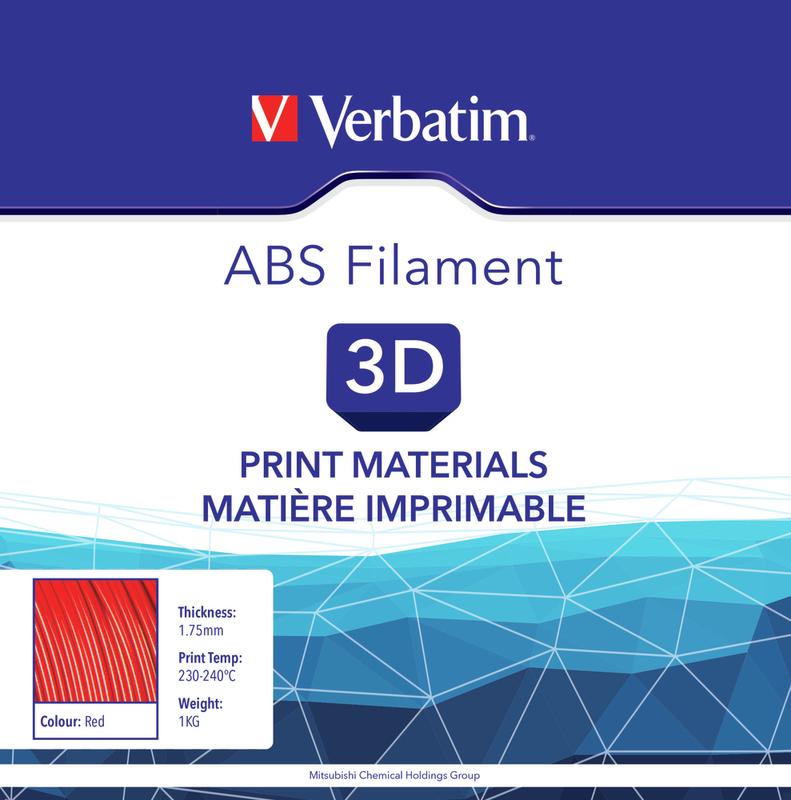 Filament ABS pour imprimante 3D diamètre 1,75 mm  rouge 55003  de Verbatim
