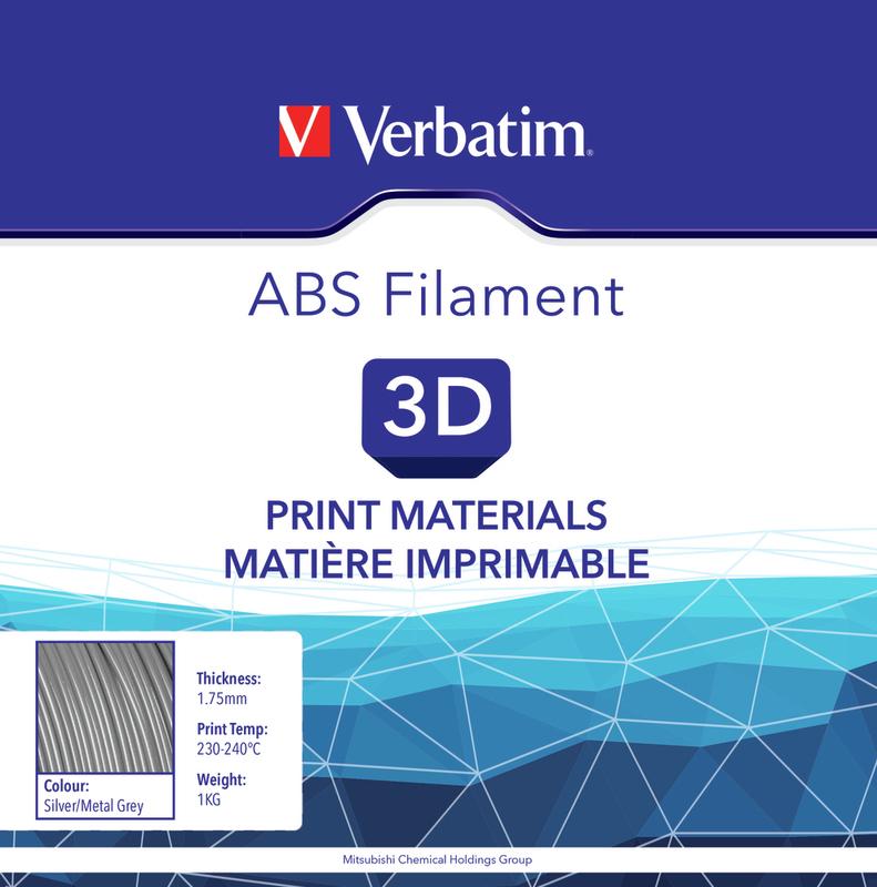 Filament ABS pour imprimante 3D diamètre 1,75 mm  gris métallique 55006 de Verbatim
