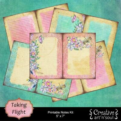Printable Junk Journal Writing Kit, Taking Flight