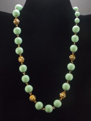 Coro Frosted Bead and Rhinestone Necklace