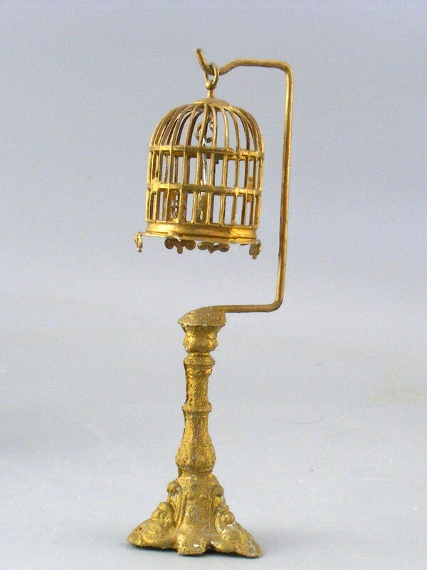 Vintage Soft Metal Birdcage and Stand