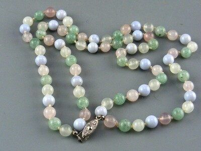 Multi Stone Hand Knotted Necklace