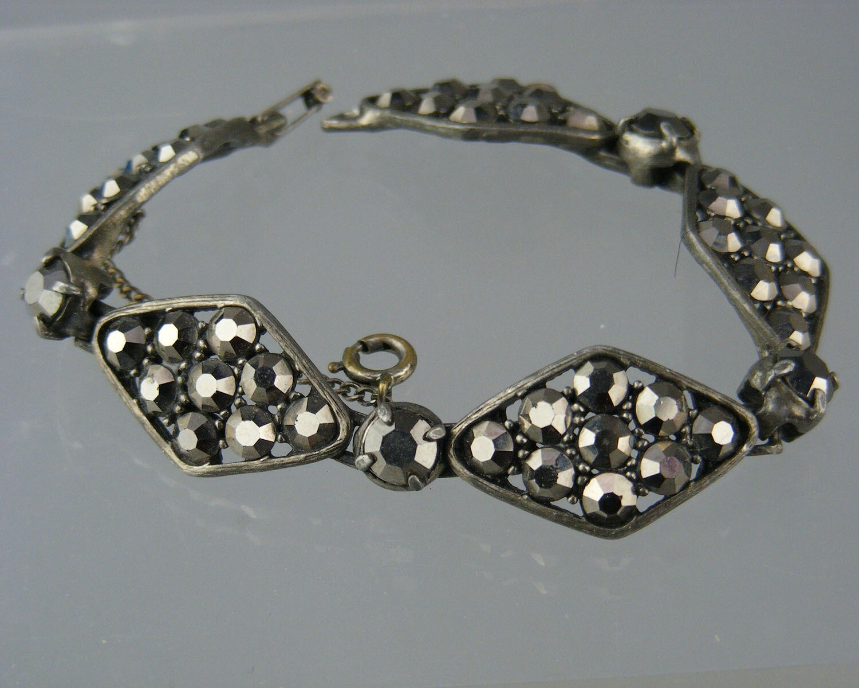 Vintage Weiss Smoky Rhinestone Bracelet