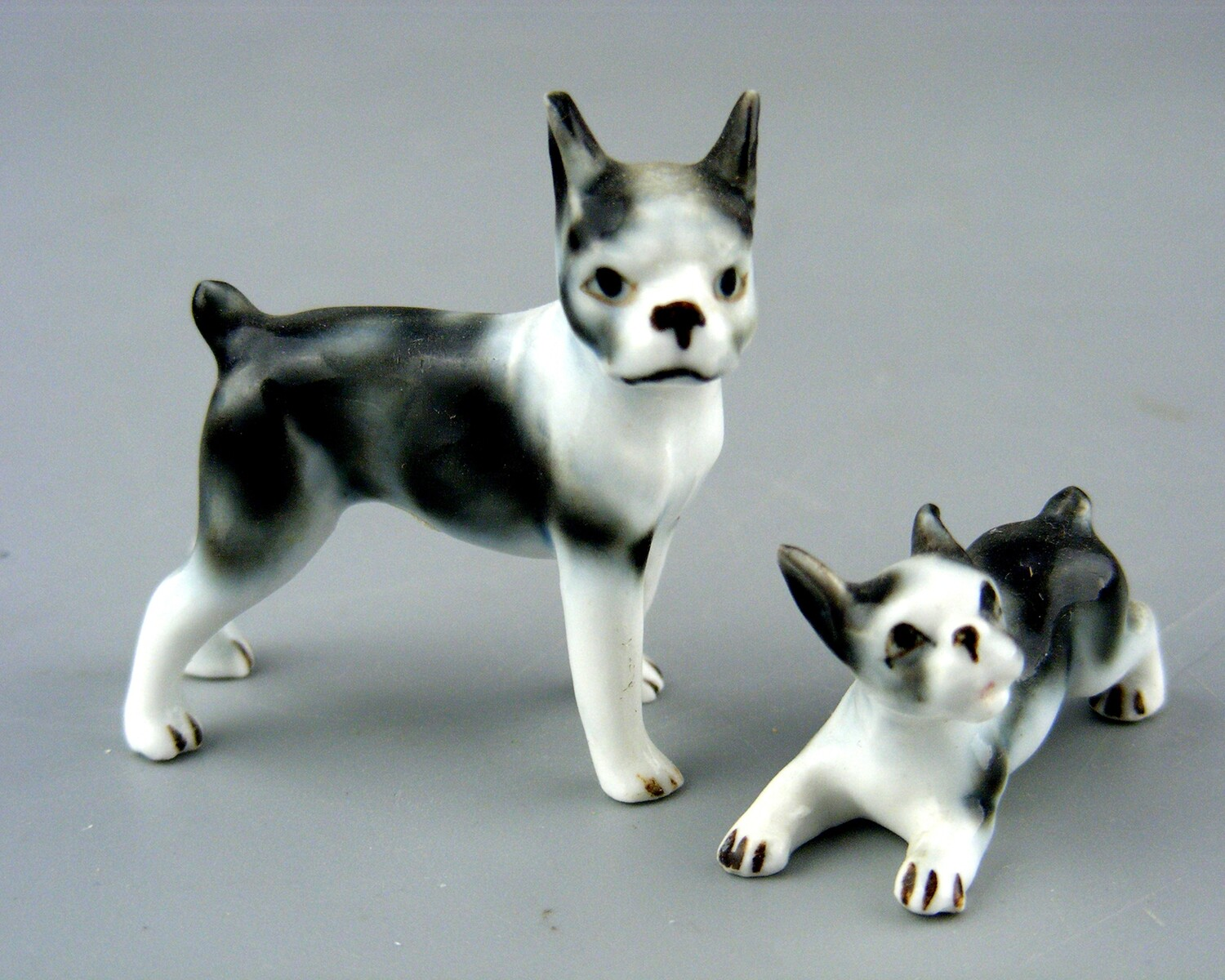 Porcelain Boston Terrier with Puppy