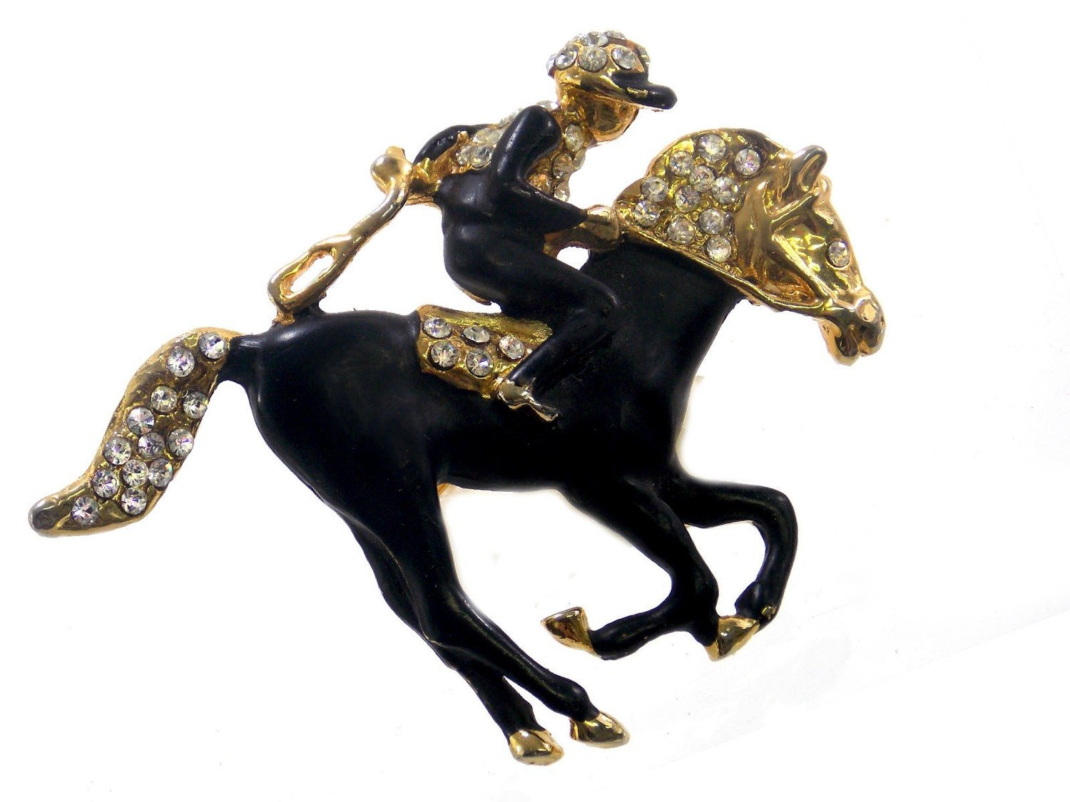 Black Racehorse Pin with Rhinestones