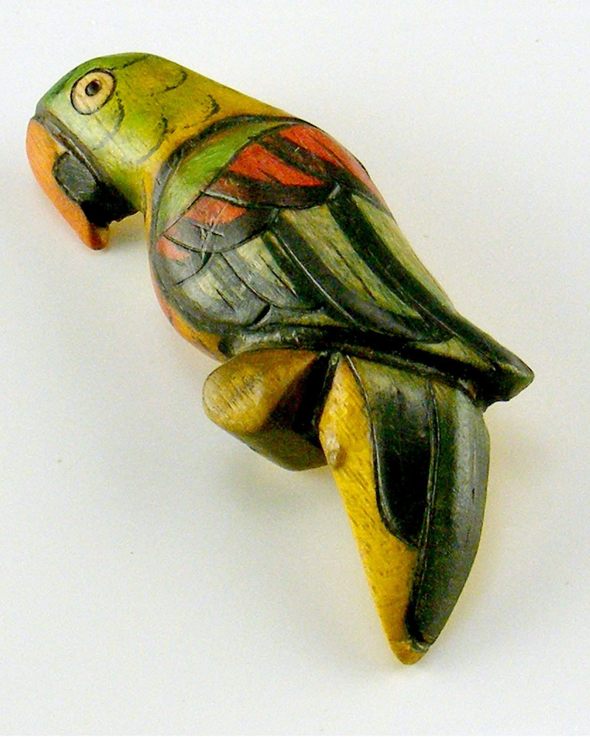 Hand Carved and Painted Parrot Pin
