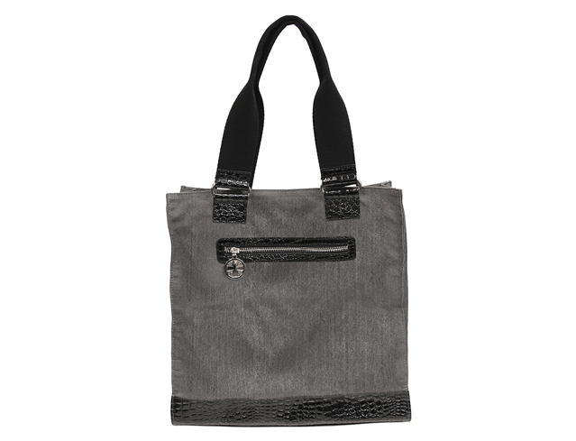 Brushed Gray Canvas & Croc Tote Bag