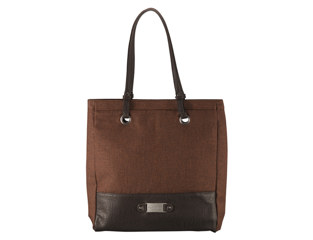 Brown Linen Look Tote Bag w/