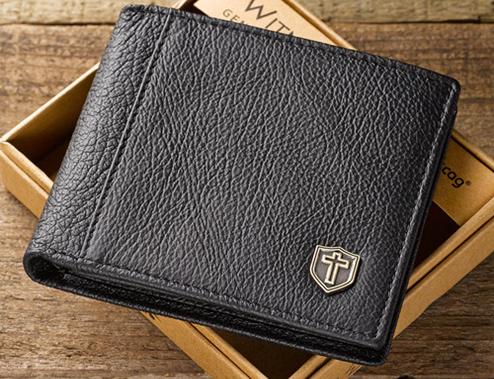 Black Genuine Leather Wallet w/Cross Shield