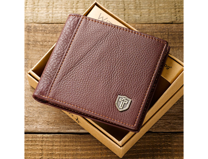 Burgundy Genuine Leather Wallet w/Cross Shield