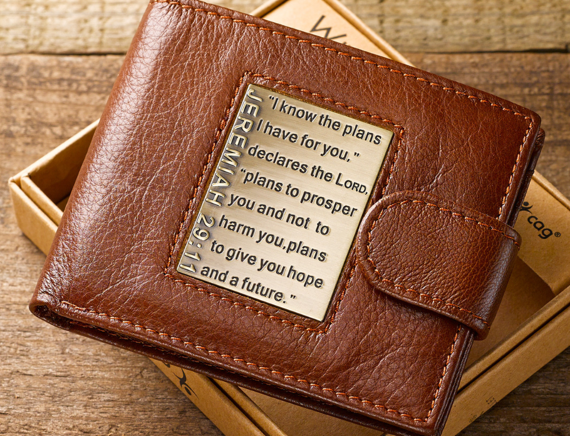 Brown Genuine Leather Wallet w/Brass Inlay - Jeremiah 29:11